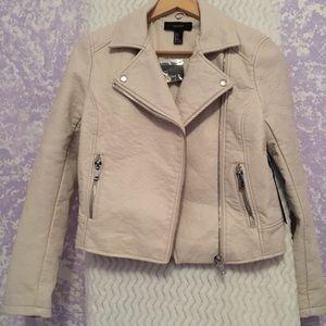 women's blush pink leather jacket